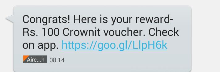 {proof attached} Crownit App Loot : Get 100 Rs on Signup + Rs. 100 per referal Use it to  Get Rs.120 CCD Voucher at Rs.20 1