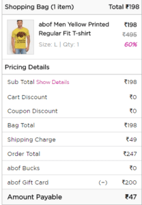 Screenshot 24 208x300 - Abof Deals : Clothing Starting From Rs. 237 + Rs.100 On Signup