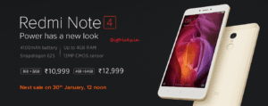 (Sale At 12.00 PM)Buy Redmi Note 4 at Rs 10999 Onwards - Flipkart 1