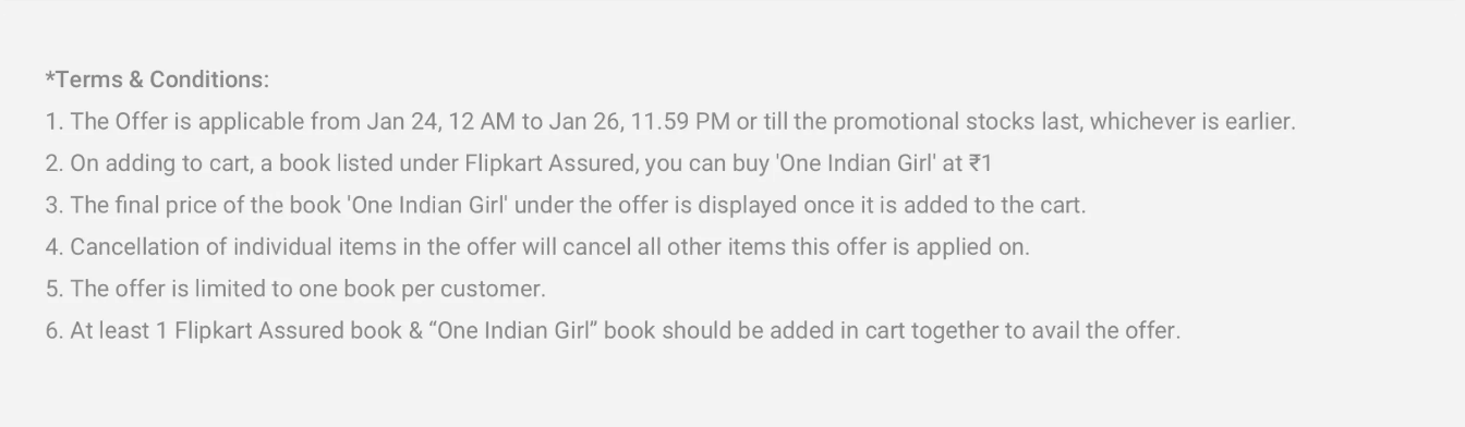 Screenshot 77 - Get Chetan Bhagat's latest One Indian Girl Book At Rs. 1 Only With Any  Book From Flipkart