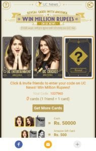 UC News Loot : Ravel Card And Win Million Rupees And free Amazon Gift Cards 3