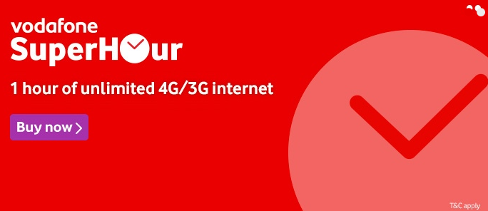 Vodafone Superhour : Unlimited 4G Data For 1 Hour At Rs. 16+ unlimited Calling at Rs. 7 Only 1