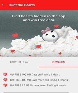Vodafone FREE Data – Hunt The Hearts And Get Upto 1.2GB Free Internet Data 1