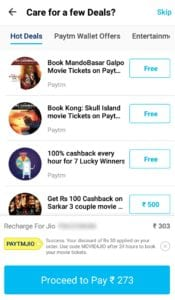 Paytm Jio Offer : Jio Rs.303 Plan in Just Rs.273 + Free Movie Tickets 4