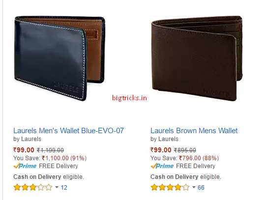 Amazon Loot : Laurels Men's Wallets Worth At Just Rs.99 (MRP=Rs.1,199 ) 1