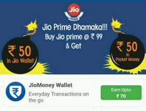 Pocket Money App Offer :- Activate Your Jio Prime and Get Rs. 120 Additionally 1