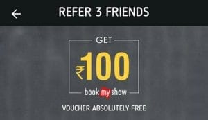 Crownit App - Free Rs.100 BMS voucher on refering 3 friends 1