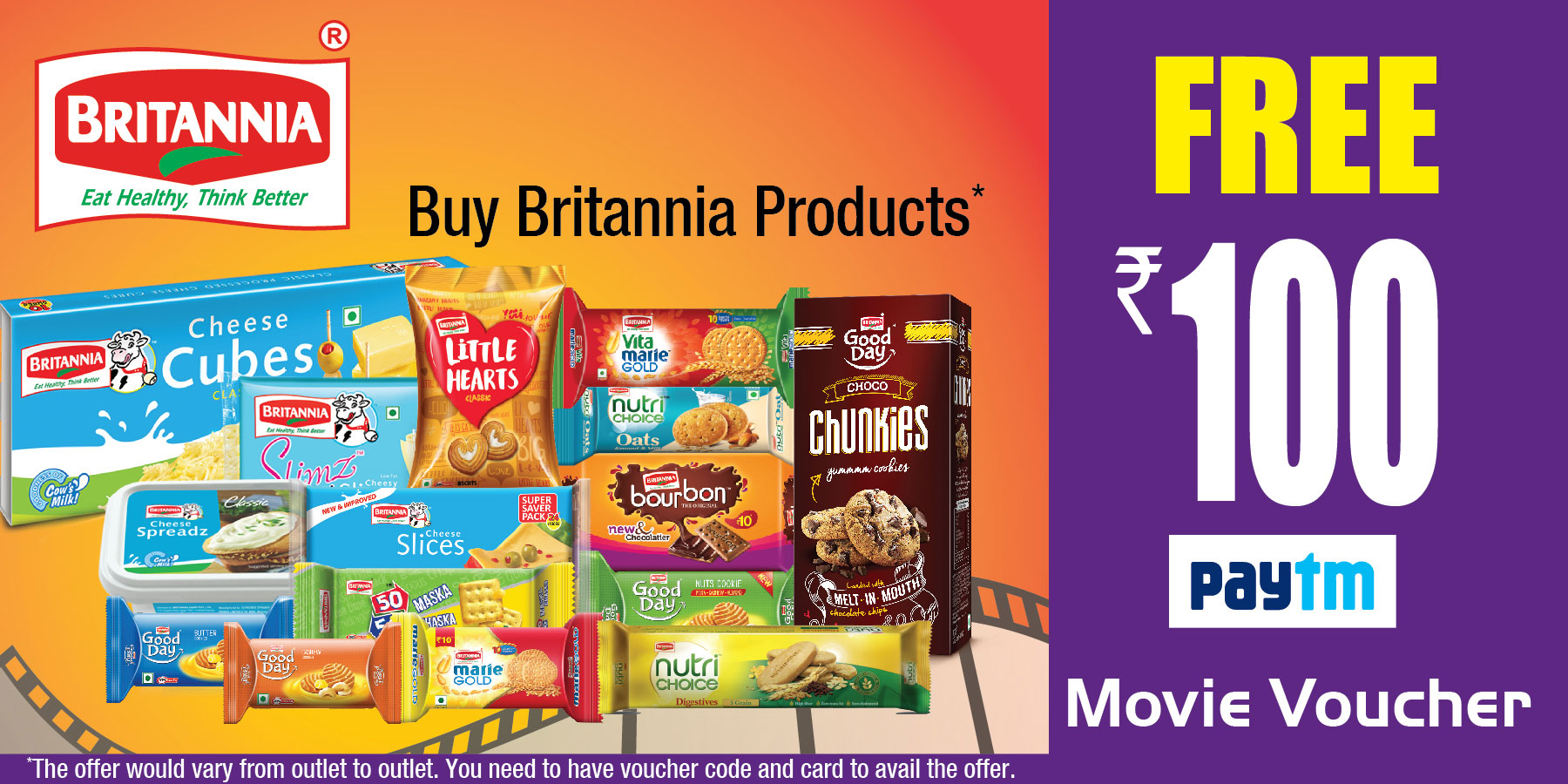 Get FREE Rs.100 Movie Voucher WITH Any Packs Of Britannia Product 1