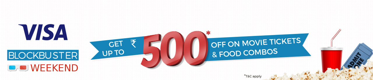 Bookmyshow Visa Offer:Get Upto Rs.500 Off on Movie Tickets and Food Combos 1