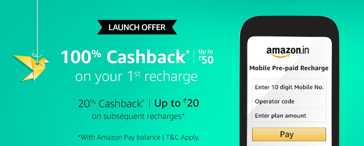 MainBanner PC. CB519615279  - (App Only) 100% Cashback On First Recharge Using Amazon Pay upto Rs.50
