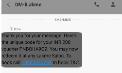 Get Rs 200 Lakme salon Voucher free 2