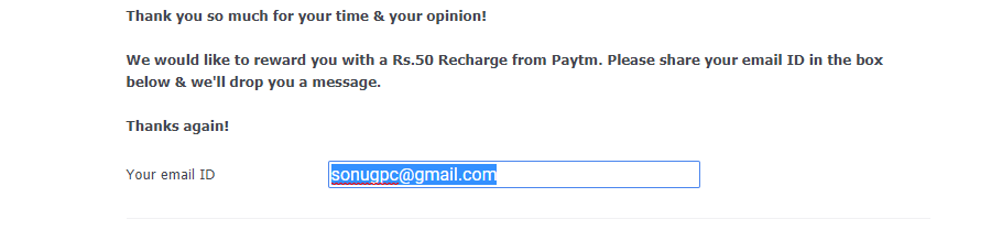 Screenshot 96 - (UNVERIFIED) Complete a Survey and Get Rs.50 Paytm cash
