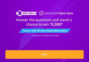 (Answers)Amazon Subscribe & Save Quiz win Rs.5000 1