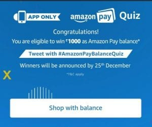 [7 Dec Answers] Amazon Pay Quiz- Answer  Win Rs 1000 Pay Balance 1