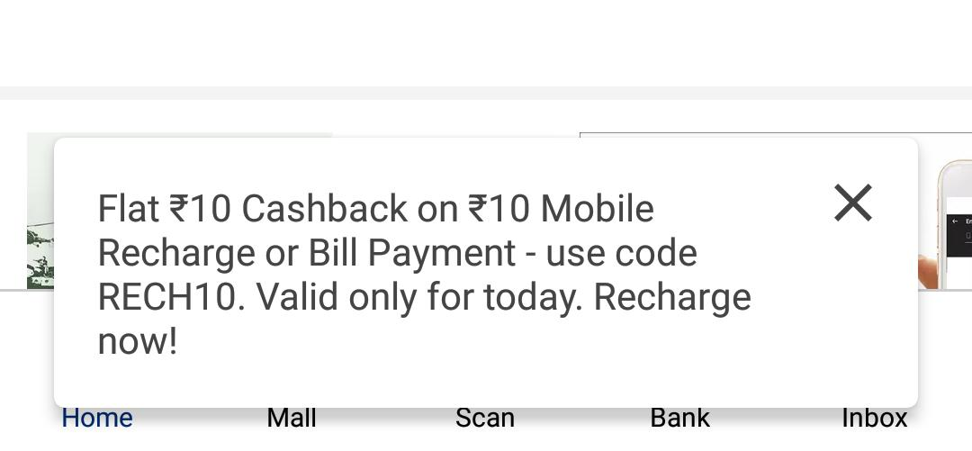 Paytm Rs.10 Cashback On Recharge Of Rs.10 For All Users 1