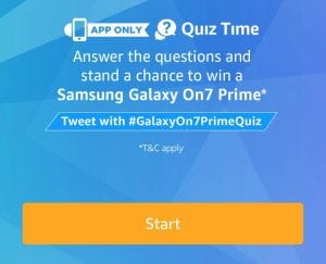 [Today] Amazon Samsung galaxy On7 Prime Quiz Answers 1
