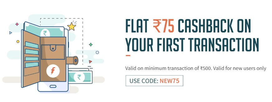 Screenshot 15 - Freecharge - Get Flat Rs 75 cashback on first Transaction Of Rs 500