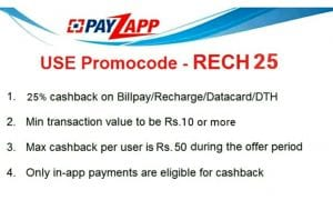 Payzapp:Get 25% Cashback Up to Rs. 50 On Recharge or  Bill Pay 1