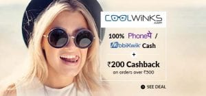 Cashkaro Coolwinks Loot Offer to Get Sunglasses free and earn Rs.350 [FOR NEW USERS] 1