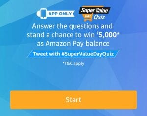 [1 February] Amazon Super Value Quiz - Answer  Win Rs 5000 1