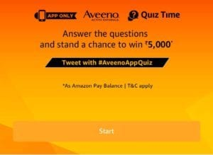 Amazon Aveeno Quiz Answers – Win Rs.5000 Amazon Cash 1