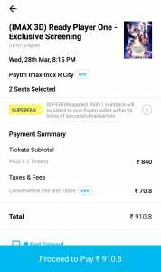 Paytm Loot: Get 100% cashback Upto 1000 on Ready Player One Special Screening 2