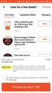 Proof: [All Users]Paytmmall Loot : Get Rs.100 Recharge For Free on Airtel 2