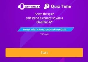 [Answers Added] Amazon OnePlus 6 Quiz: Answer & Win OnePlus 6 Smartphone 1