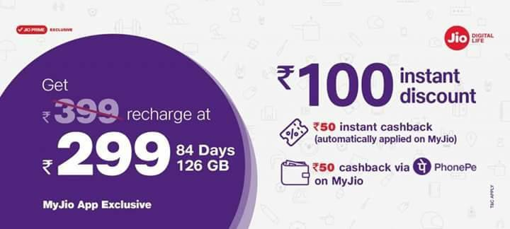 Jio Recharge Offer - Get Rs.399 Recharge at Rs.299 With Phonepe 1