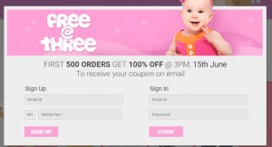 (Free Shopping) FirstCry Free@3 offer - Get Free Shopping Worth Rs.500 free at 3 PM 1