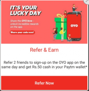 (TnC Changed) Oyo Rooms - Get Rs.1000 off on Rs.2400 Booking+ Refer & earn 2