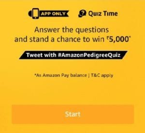(Answers Added)Amazon Pedigree Quiz – Answer & get a Chance to Win Rs.5000 1