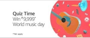 (Answers)Amazon World Music Day Quiz : Answer & Win Rs.9999 Amazon 1