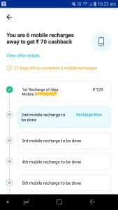 PayTM 7 Pe 70 Recharge Offer: Rs. 70 cashback on doing 7 recharges of Rs. 100 or above 2