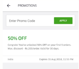 ubereats - Rs.50 On Signup + 50% off on 5 Orders + Get DEALicious Deals 2