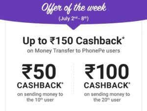 (Week 3)Phonepe July Bonanza - Get Rs.100 Cashback On Money Transfer to Friends 1