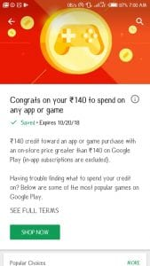 (User Specific)Google Play Store Free Credits - Get Upto Rs.140 For Free in Playstore 3