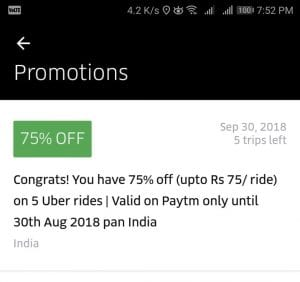 (All Users)Uber Loot - Get 75% off upto Rs.75 on next 5 Rides 1