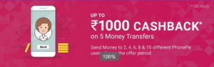 Phonepe All Users loot - Transfer Money Minimum 2 times & Get upto Rs.1000 Cashback(Upto 5 Times) 1