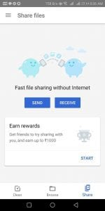 Proof - Files Go App - Get Google Pay(Tez )Scratch Card Free for File Transfer 2