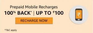 Amazon - Rs.130 Cashback on Rs.100 Recharge Free for All Prime users 1