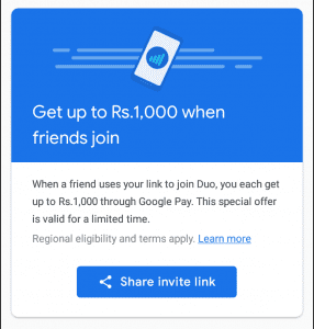 (Live)Google Duo Refer and Earn :- Invite Friends and Get Google Pay Scratch Cards 1