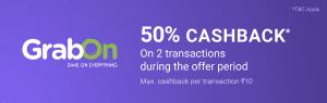 Phonepe Cashback Offers - Get 50% Cashback upto Rs.10 on GrabOn/Zingoy(twice) 1