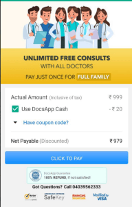 DocsApp Gold - Get Unlimited Doctor Consultation Free for 1 Year at Just Rs.879 + Refer & Earn PayTM cash 3