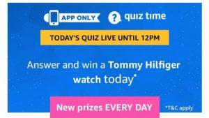 Amazon Quiz 12th March 2019 Answers - Answer & Win Tommy Hilfiger Watch 1