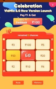 [instant PayTM]VidMix App - Pay Rs.1 & Win Upto Rs.100 Instantly in PayTM + Refer & earn 4