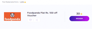 TimesPoints Loot - Get Flat Rs.100 Off on Foodpanda Voucher For Free 1