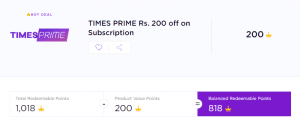Timespoint Offer - Get Rs.200 Off on Times Prime Subscription(Include Gaana+, Swiggy Super etc.) 3