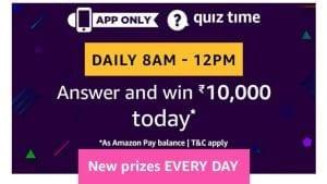 Amazon Quiz 27 May 2019 Answers – Answer & Win 5000 Pay Balance 1