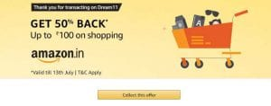 Dream11 Amazon Pay Offer - Get Upto 50% Cashback + 50% Cashback on Next order 4
